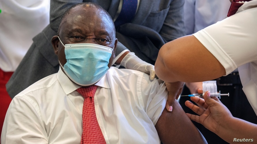 South African President Cyril Ramaphosa receives the Johnson and Johnson coronavirus disease (COVID-19) vaccination at the Khayelitsha Hospital near Cape Town, South Africa, Feb. 17, 2021.