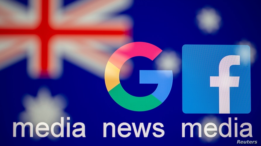 """Google and Facebook logos, words """"media, news, media"""" and Australian flag are displayed in this illustration taken, Feb. 18, 2021."""