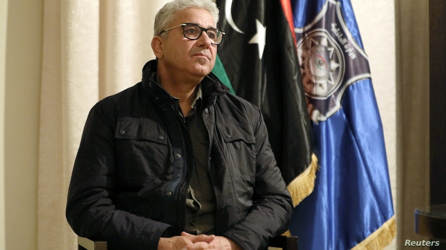 Fathi Bashagha, Interior Minister of the Tripoli-based UN-backed Government of National Accord (GNA) speaks to Reuters after escaping an assassination attempt on him, in Tripoli, Libya, Feb. 21, 2021.