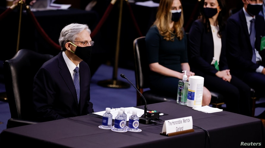 Judge Merrick Garland is seated to testify before a Senate Judiciary Committee hearing on his nomination to be U.S. Attorney General on Capitol Hill in Washington, U.S., Feb. 22, 2021.