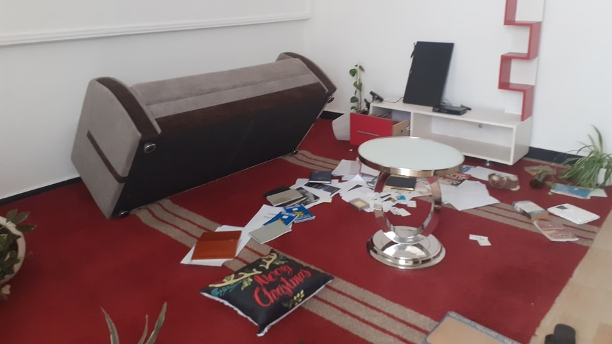 Freelance journalist Lucy Kassa says her home in Addis Ababa was raided by three armed men dessed in civilian clothes. The aftermath of that raid is seen in this photo from WhatsApp. (Courtesy image)