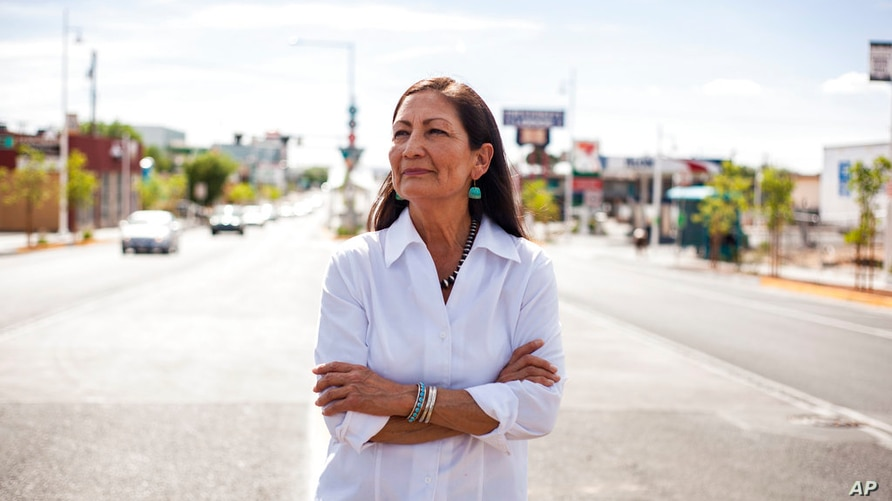 FILE - Deb Haaland poses for a portrait Tuesday, June 5, 2018 in a Nob Hill Neighborhood in Albuquerque, N.M. Haaland is one of…