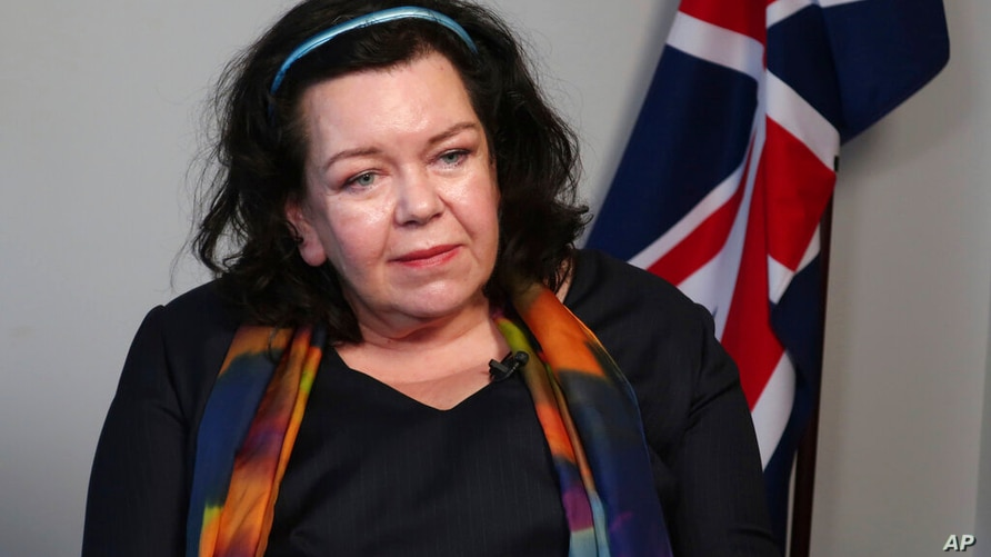 Karen Pierce listens to questions from the media in New York on Friday, February 7, 2020. Britain has appointed Pierce as the…