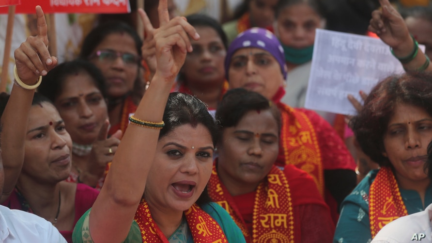 """Supporters of Bharatiya Janata Party shout slogans during a protest against Amazon's new Prime Video series """"Tandav"""" in Mumbai, India, Jan 19, 2021."""