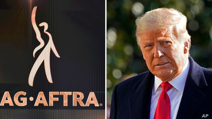 In this combination photo, the SAG-AFTRA logo appears on screen at the 26th annual Screen Actors Guild Awards on Jan. 19, 2020.