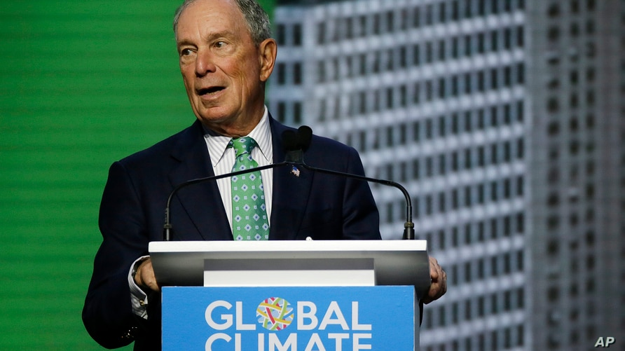 FILE - Michael Bloomberg, the UN Secretary-General's Special Envoy for Climate Action, speaks during the plenary session of the Global Action Climate Summit, in San Francisco, Sept. 13, 2018.
