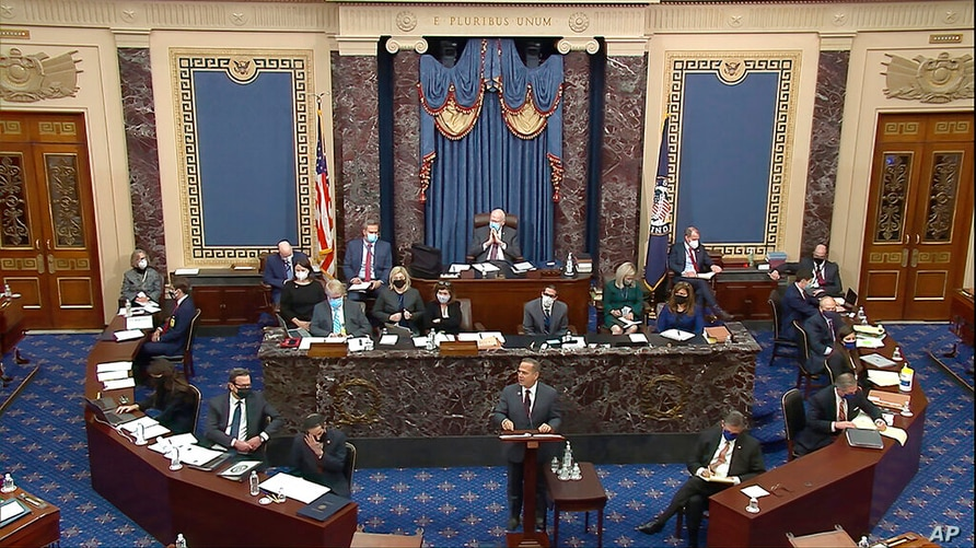 In this image from video,House impeachment manager Rep. David Cicilline, D-R.I., speaks during the second impeachment trial of…