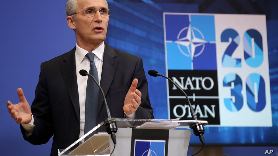 NATO Secretary General Jens Stoltenberg speaks during a media conference ahead of a NATO defense minister's meeting at NATO…