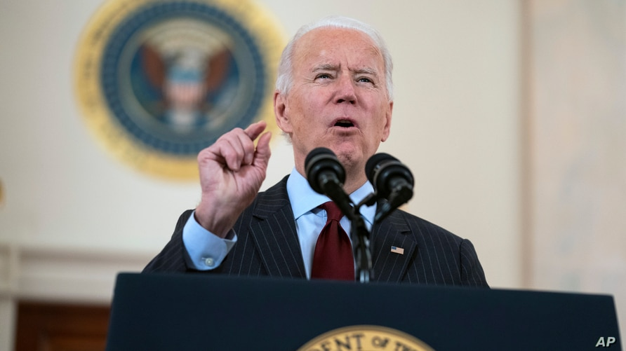 President Joe Biden speaks about the 500,000 Americans that died from COVID-19, Monday, Feb. 22, 2021, in Washington. (AP Photo…
