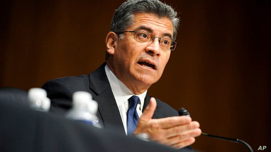 Xavier Becerra testifies during a Senate Finance Committee hearing on his nomination to be secretary of Health and Human…
