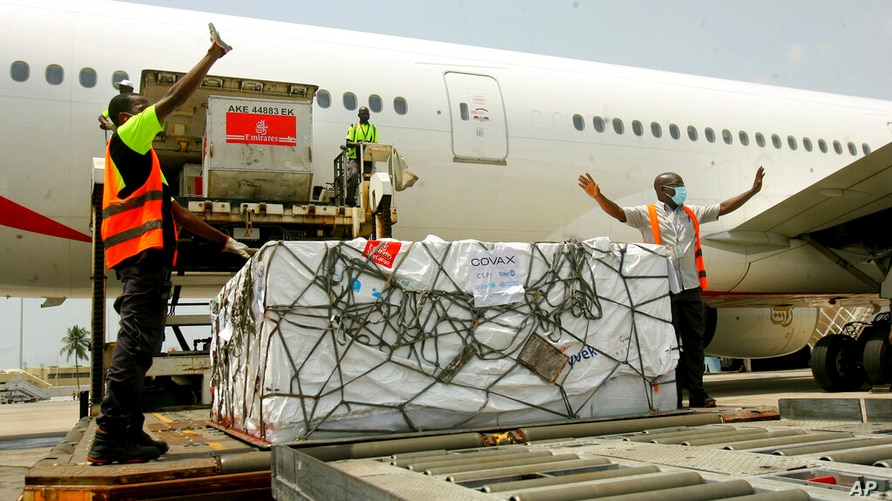 A shipment of COVID-19 vaccines distributed by the COVAX Facility arrives in Abidjan, Ivory Coast, Friday Feb. 25, 2021. Ivory…