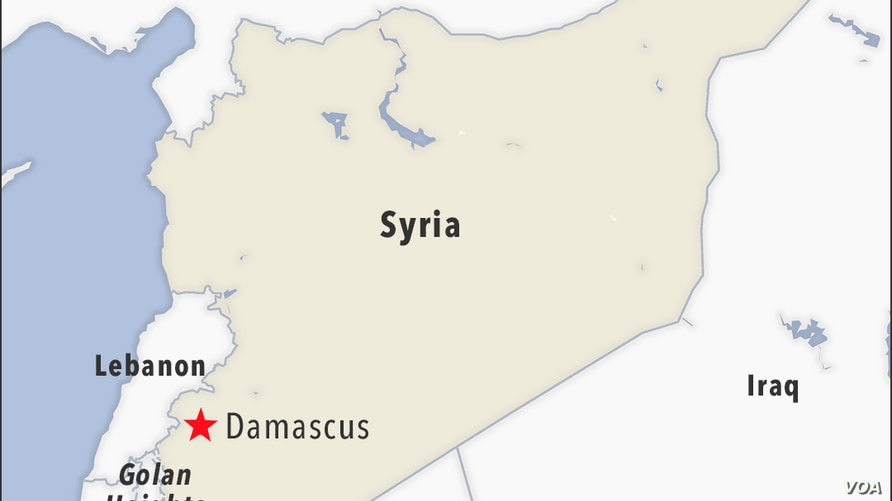 Map of Damascus Syria, also showing the Golan Heights