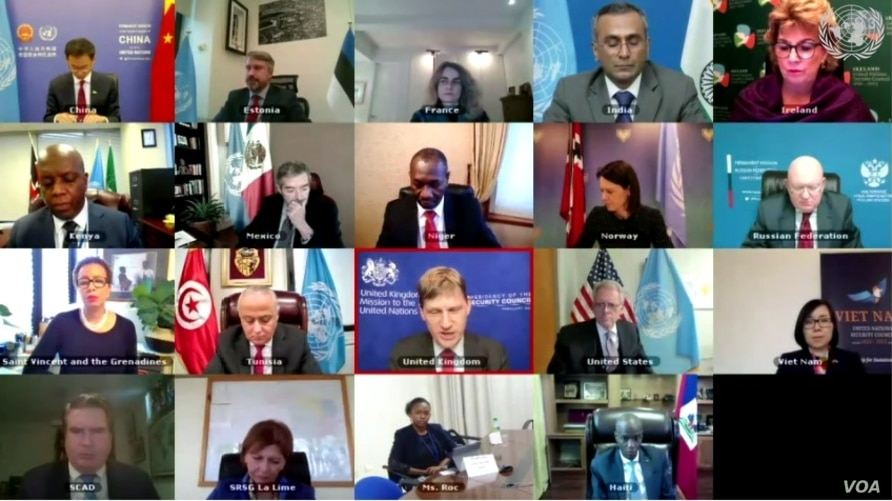 The U.N. Security Council holds a meeting via video conference to discuss political instability in Haiti, Feb. 22, 2021. (Photo: UNSC)