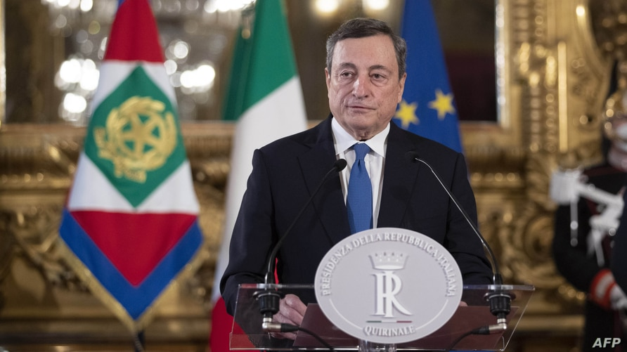 Former head of the European Central Bank Mario Draghi gives a press conference after a meeting with Italian president Sergio Mattarella, at the Quirinal palace in Rome, Italy, Feb. 3, 2021.