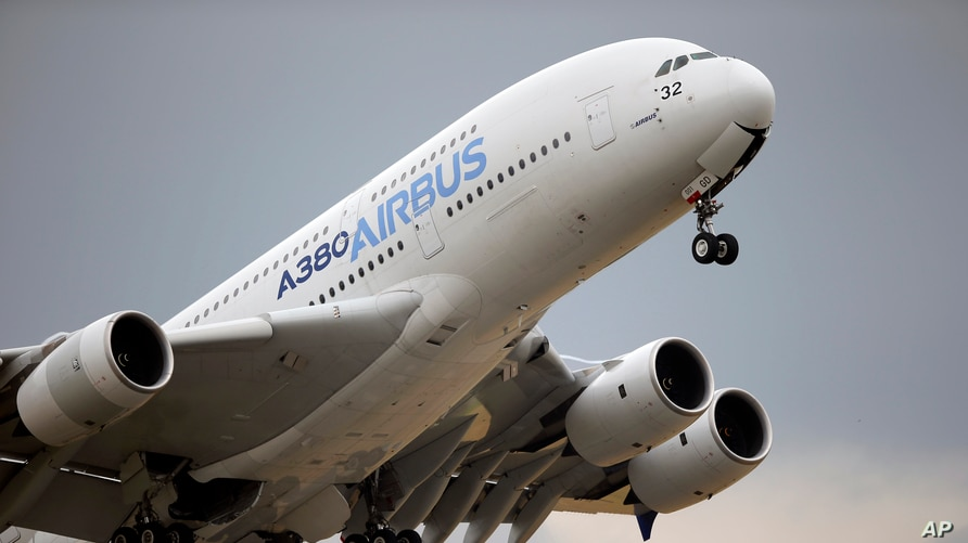 FILE - An Airbus A380 takes off for a demonstration flight at the Paris Air Show at Le Bourget airport, north of Paris, France, June 18, 2015.