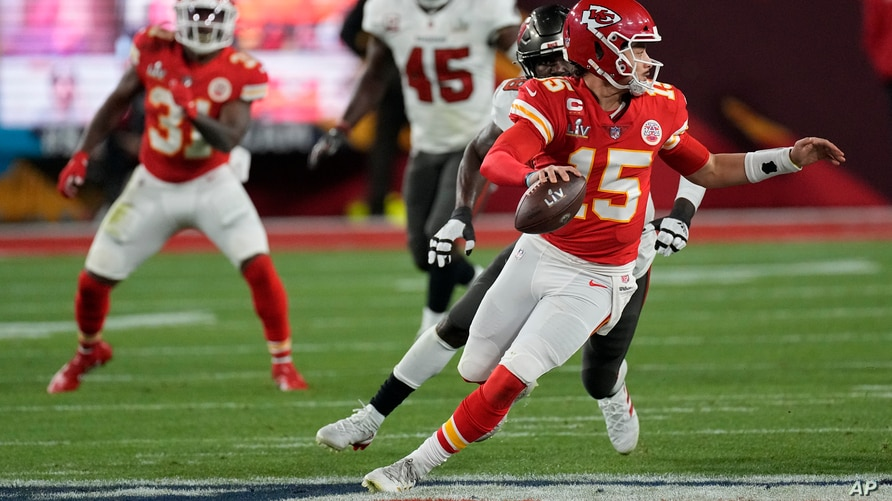 Kansas City Chiefs quarterback Patrick Mahomes looks to throw against the Tampa Bay Buccaneers during the second half of the NFL Super Bowl 55 football game, in Tampa, Florida, Feb. 7, 2021.