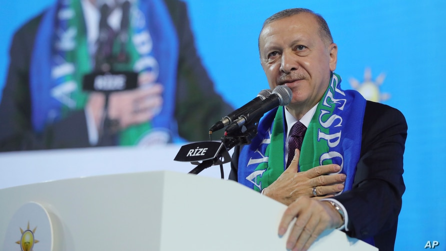 Turkish President Recep Tayyip Erdogan addresses his ruling party's supporters in the Black Sea city of Rize, Feb. 15, 2021.