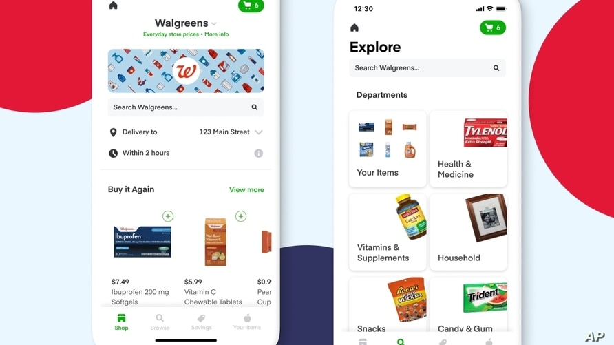 The Walgreens Instacart shopping app is seen in an illustration photo on two smartphone screens.