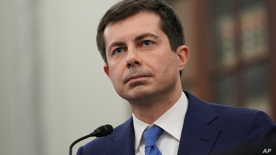 Transportation Secretary nominee Pete Buttigieg speaks during a Senate Commerce, Science and Transportation Committee confirmation hearing on Capitol Hill in Washington, D.D., Jan. 21,2021.