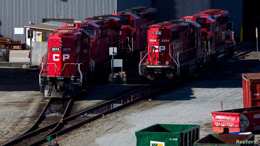 FILE - The Canadian Pacific railyard is pictured in Port Coquitlam, British Columbia, Feb. 15, 2015.