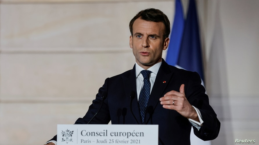 French President Emmanuel Macron delivers a press conference after a European Council summit held over video-conference, in…