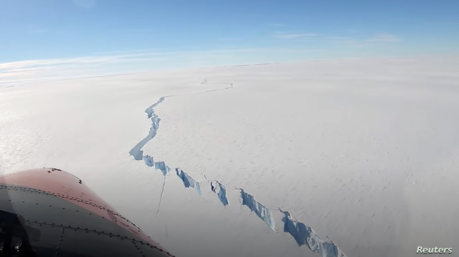 A chasm called the North Rift formed on the Brunt Ice Shelf is seen in Antarctica, February 26, 2021, in this still image…