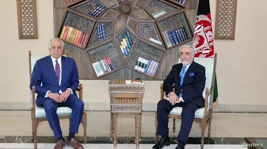 U.S. envoy for peace in Afghanistan Zalmay Khalilzad meets Abdullah Abdullah, Chairman of the High Council for National Reconciliation in Kabul, Afghanistan, March 1, 2021.