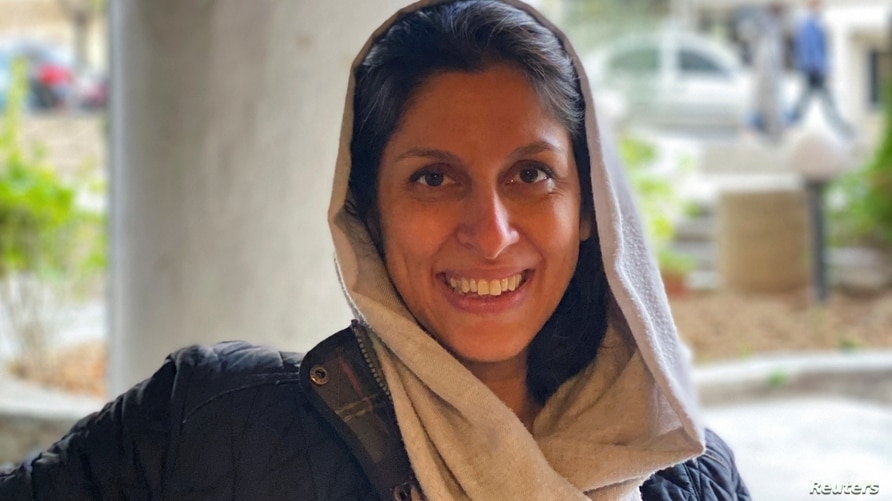 A British-Iranian aid worker, Nazanin Zaghari-Ratcliffe, poses for a photo after she was released from house arrest in Tehran, Iran, March 7, 2021.
