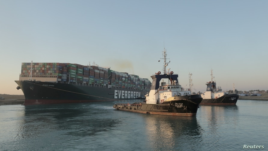A view shows the container ship Ever Given, one of the world's largest container ships, after it was partially refloated.