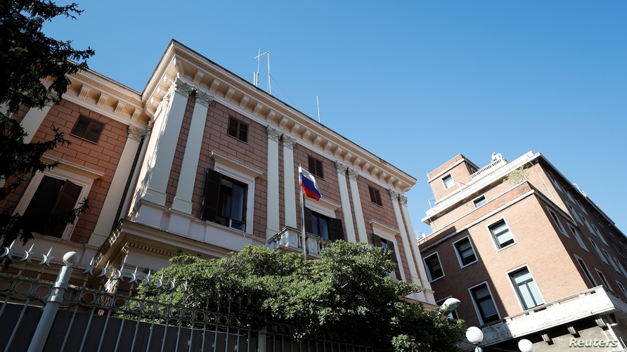 General view of the Russian Embassy after a Russian army official, who is accredited with the embassy, and an Italian navy…