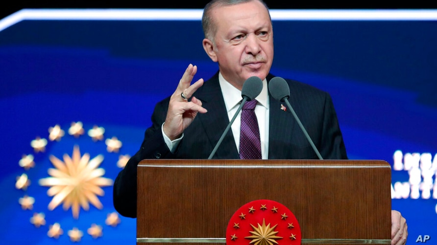 Turkish President Recep Tayyip Erdogan speaks about Human Rights reforms prepared by his government, in Ankara, Turkey, Tuesday…