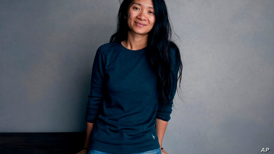 """FILE - Chloe Zhao poses for a portrait to promote her film """"Nomadland"""" during the Sundance Film Festival in Park City, Utah on…"""