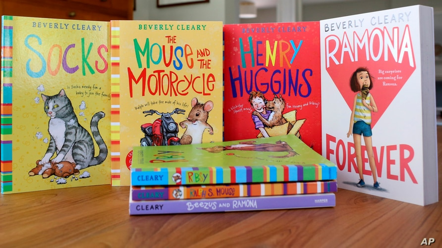 This image shows a collection of books by Beverly Cleary on Friday, March 26, 2021, at a home in Altadena, Calif. The beloved…