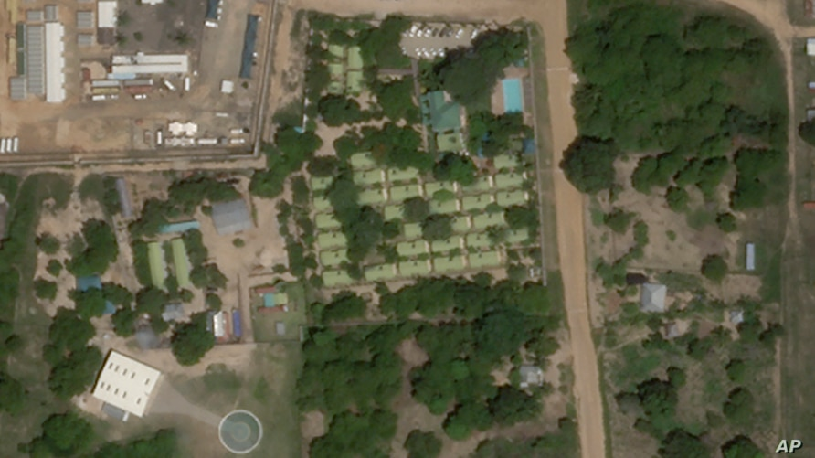 This satellite photo from Planet Labs Inc. shows the Amarula Palma hotel, center, with its helipad below left, in Palma,…