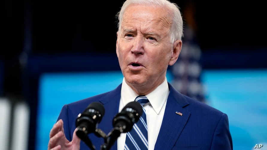 President Joe Biden speaks during an event on COVID-19 vaccinations and the response to the pandemic, in the South Court…