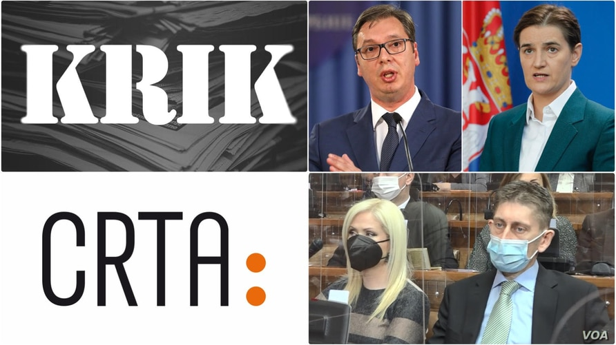 Images show Serbian President Aleksandar Vucic, Prime Minister Ana Brnabic, top right Sandra Bozic and Aleksandar Martinovic, bottom right, from the SNS party. (KRIK, CRTA, Reuters, RFE/RL)
