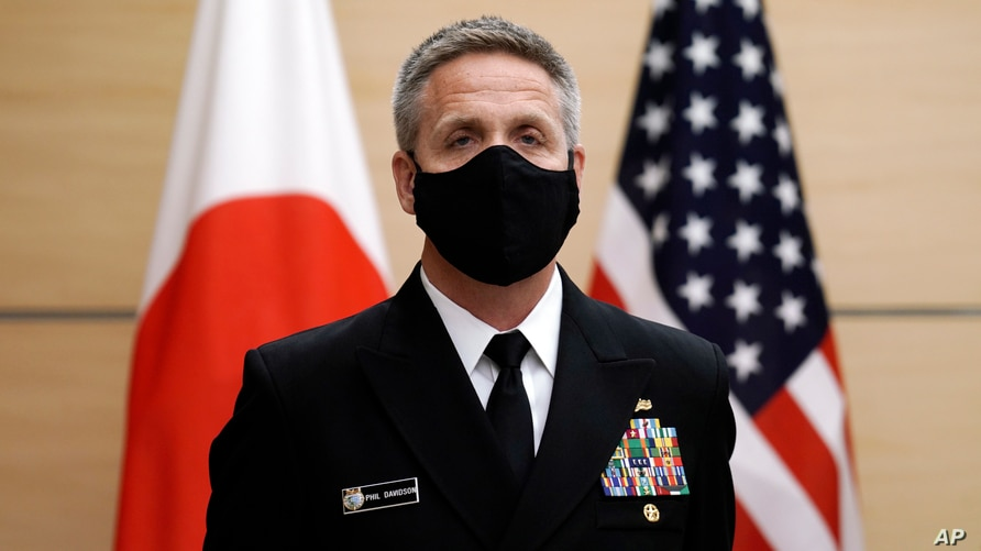 Adm. Philip Davidson, commander of the U.S. Indo-Pacific Command, waits for the arrival of Japan's Prime Minister Yoshihide Suga for a meeting at the prime minister's office, Oct. 22, 2020, in Tokyo.