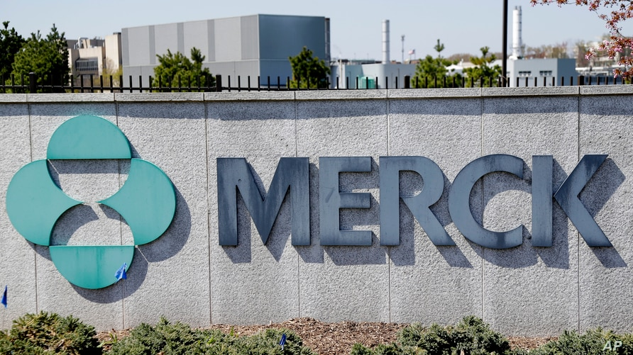 FILE - Signage is seen at the corporate headquarters of the U.S. pharmaceutical company Merck in Kenilworth, New Jersey, May 1, 2018.