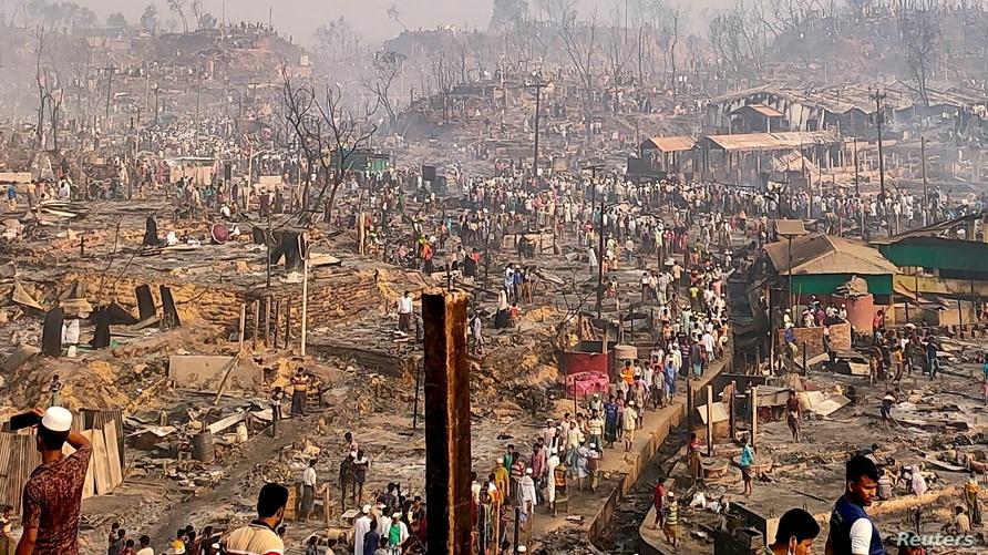 A general view of a Rohingya refugee camp after a fire burned down all the shelters in Cox's Bazar, Bangladesh, March 23, 2021.