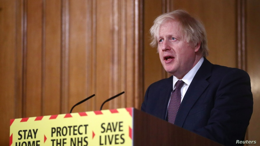 Britain's Prime Minister Boris Johnson holds a virtual news conference at 10 Downing Street, amid the COVID-19 outbreak, in London, March 8, 2021.