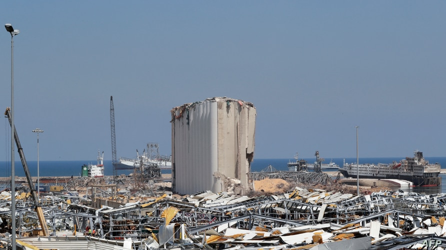 A picture taken on August 25, 2020, shows the damaged grain silos amid the destruction at Beirut's harbour, in the aftermath of…