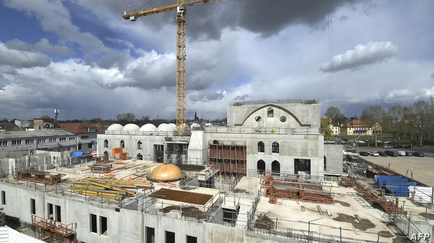 This general view taken on April 6, 2021, shows the construction site of The Eyyub Sultan Mosque in Strasbourg, eastern France,…