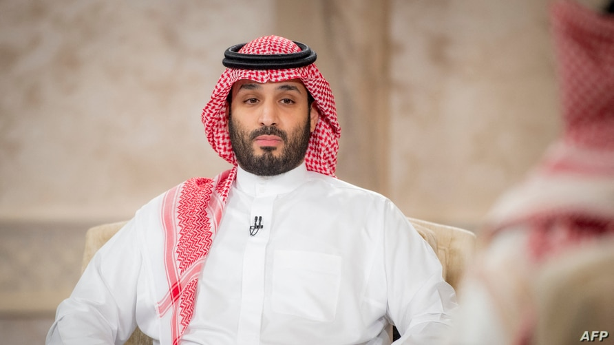A handout picture provided by the Saudi Royal Palace on April 27, 2021, shows Saudi Crown Prince Mohammed bin Salman during an…