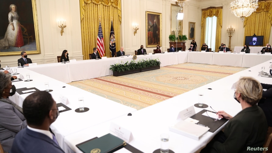 U.S. President Joe Biden holds first Cabinet meeting at the White House in Washington, U.S., April 1, 2021.