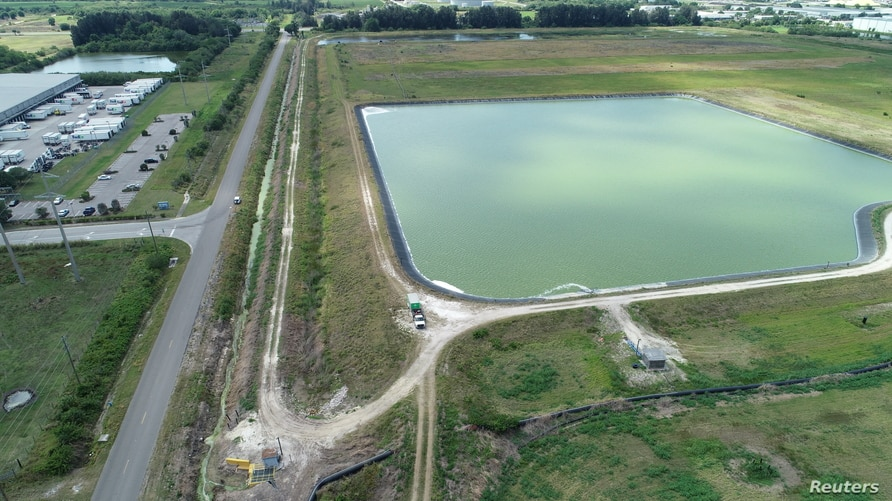 A reservoir of a defunct phosphate plant south of Tampa, where a leak at a waste water reservoir forced the evacuation of…