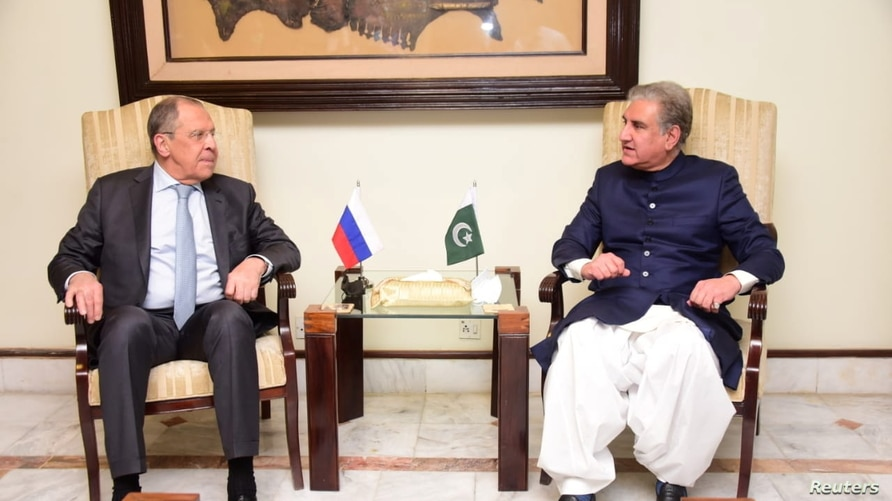 Russia's Foreign Minister Sergey Lavrov attends a meeting with his Pakistani counterpart Shah Mehmood Qureshi in Islamabad,…
