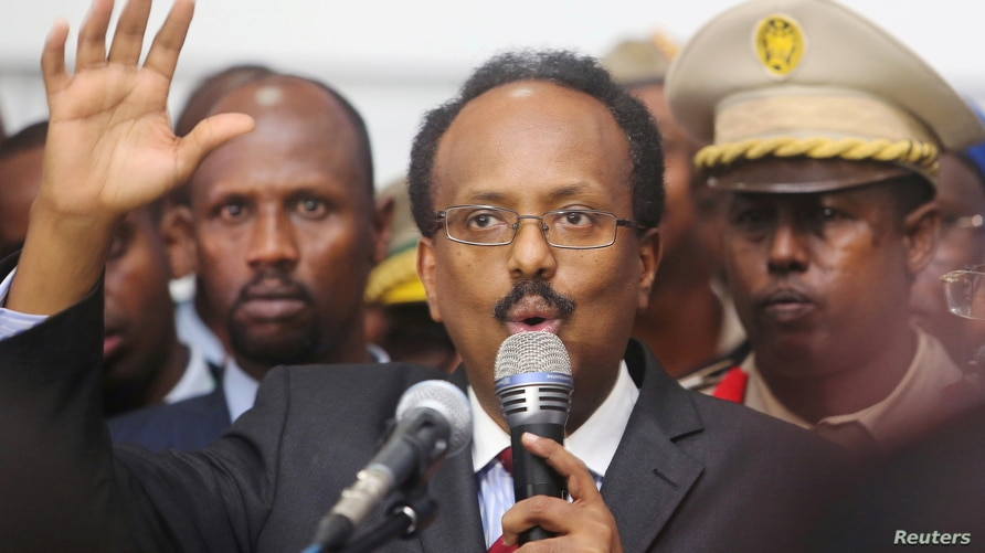 FILE - Somalia's newly-elected President Mohamed Abdullahi Farmajo addresses lawmakers after winning the vote at the airport in Somalia's capital Mogadishu, February 8, 2017.
