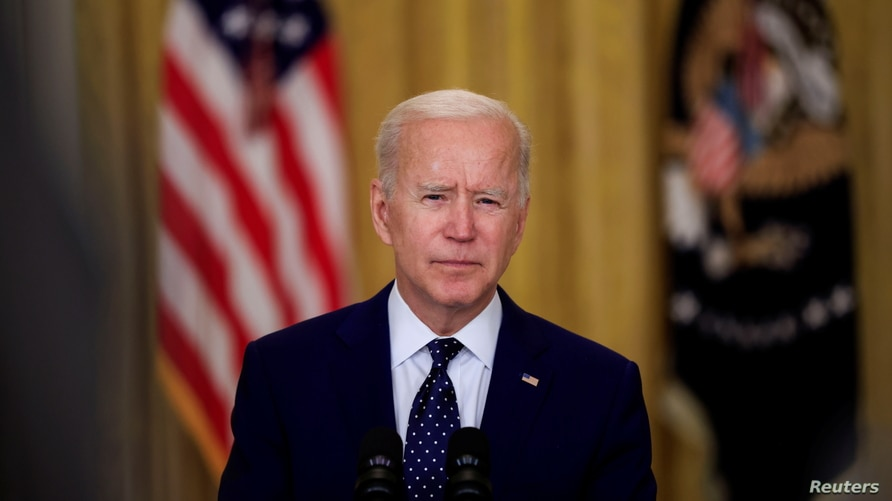 U.S. President Joe Biden delivers remarks on Russia in the East Room at the White House in Washington, U.S., April 15, 2021…