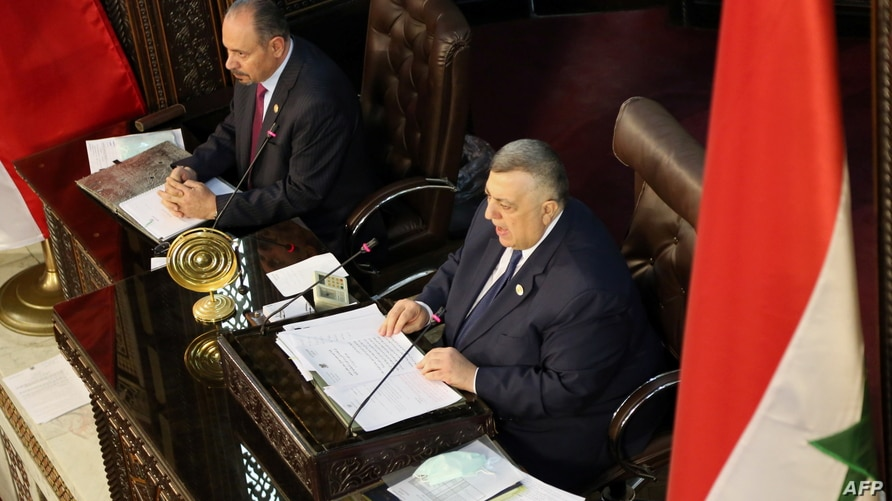 Parliament Speaker Hammouda Sabbagh heads a parliament session to discuss upcoming presidential election in Damascus, Syria…