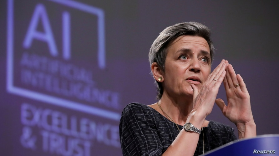 European Executive Vice-President Margrethe Vestager speaks at a media conference on the EU approach to Artificial Intelligence following a weekly meeting of EU Commission in Brussels, Belgium, April 21, 2021.
